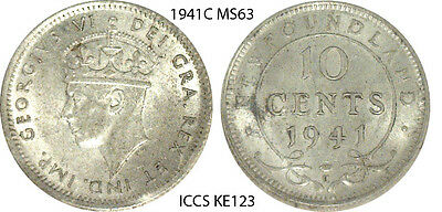 1941-C 10¢ Cents Newfoundland, Canada Dime Coin - Graded MS63 by ICCS