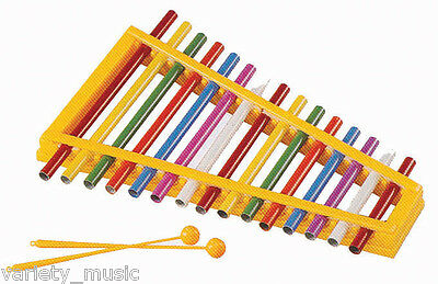 MITELLO - Pipe xylophone. 15 note. Tuned coloured pipes in a plastic frame