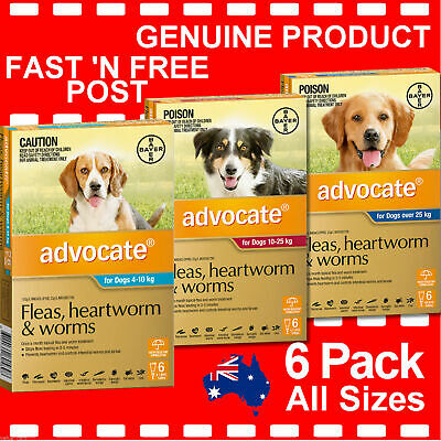 Advocate For Dogs Flea & Worm Treatment 6 Pack 4-10kg , 10-25kg or Over 25kg 6pk