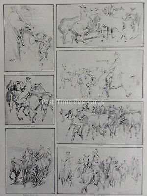 WW1 EQUINE SKETCHES OF OFFICER AT THE FRONT The Great War 1914/15 Original Print
