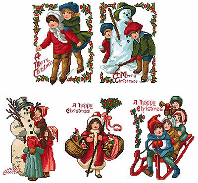 "ABC Designs 5 Vintage Christmas Machine Embroidery Designs in Cross Stitch 5""x7"""
