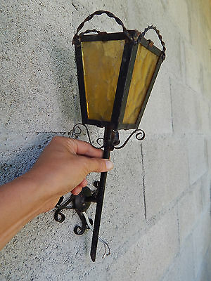 Vintage French iron/ glass ceiling light lantern