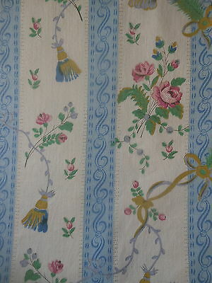 Vintage French Shabby Roses Tassel Peacock Feather  Fabric ~Blue  Pink Yellow