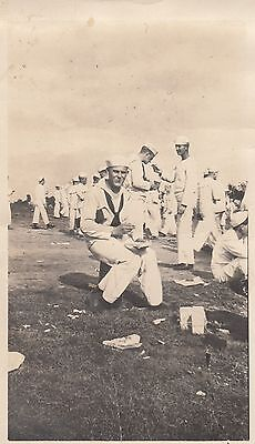 Vintage Photo Group of Sailors in Field eating Military Uniform Navy Men Snap