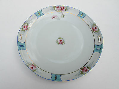 Nippon Hand Painted Serving Dish Floral Pattern, Gold Trim, Light Blue Accents