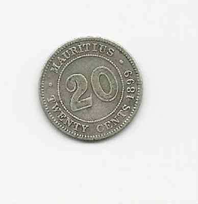 Mauritius Twenty Cents 1889 Silver Coin  Extreme Fine Cond Free World Shipping