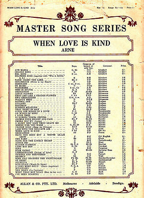 When Love Is Kind- 1940-Thomas Moore-4 Page-Sheet Music
