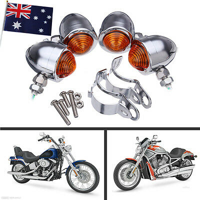 4x Bullet Motorcycle Chrome Turn Signal Light Indicator for Harley Chopper New
