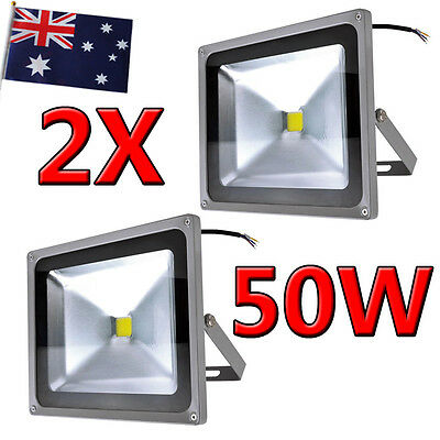 2X 50W High Power Cool White Floodlight IP65 LED Flood Wash Light Outdoor Lamp