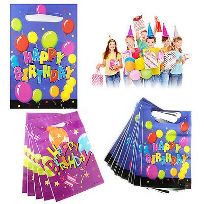 16* Party Happy Birthday Gift Bags Kids Loot Bag Fun Present Plastic Children