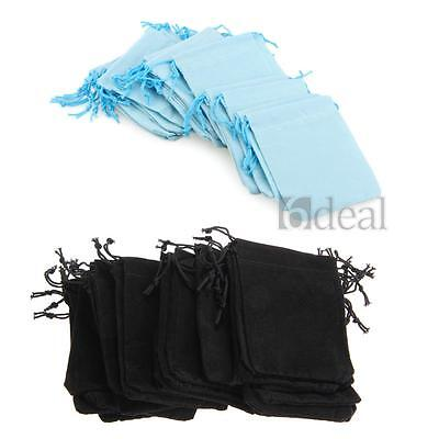 25x Black Velvet Drawstring Jewelry Wrapping Pouches Gift Bags for Packaging