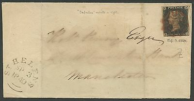 Gb #1 On Folded Letter With Red Cancel Sept 3,1840 Bs2643