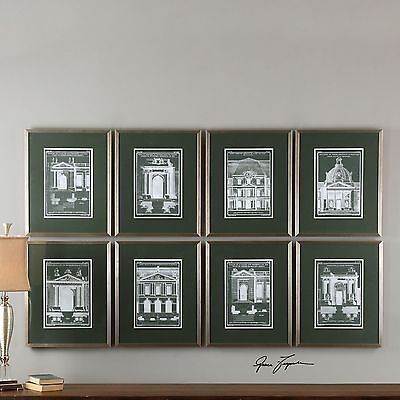 Set Of 8 Different Architectural Houses Rich Prints Under Glass Silver Frames