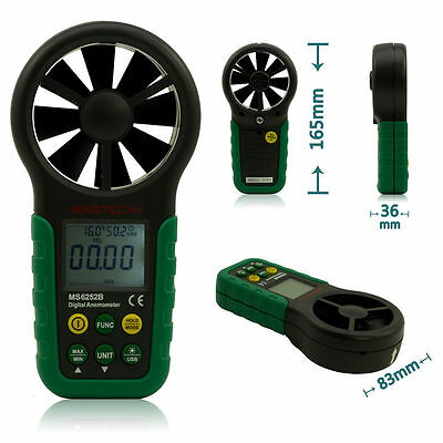 MASTECH MS6252B Anemometer LCD Backlight Wind Speed Air Volume Measuring Meter