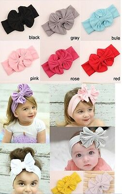 Big Bow Cotton Girls Babies Headband Fabric Flower Stunning Unusual Hairband