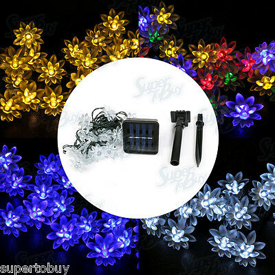 Lotus LED Solar String Lights 20 LEDs Waterproof Outdoor Garden Patio Fairy