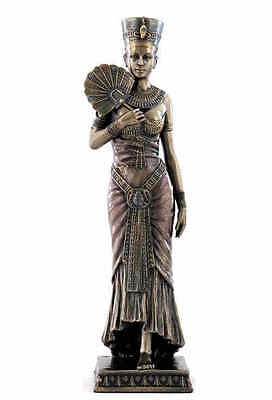 Egyptian Queen Nefertiti Cleopatra Holding Fan Ancient Egypt Statue #WU75655A4