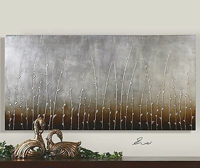 "60"" X 30"" Rich Hand Painted On Canvas Modern Silver Branches Painting Wall Art"