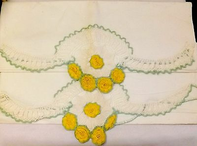 Pair Of Vintage White Pillow Cases With Yellow And Green Crocheted Flower Edge