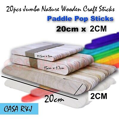 26 pc Super Jumbo Natural Wooden Craft Sticks Paddle Pop Sticks Ice Cream 200mm