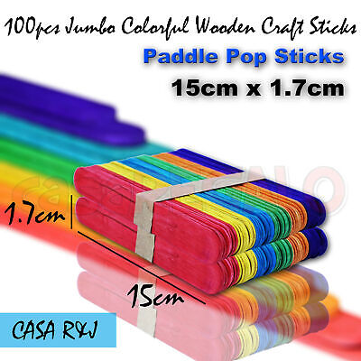 100pcs Jumbo Coloured Wooden Craft Sticks Paddle Pop Sticks 15cm x 1.7cm
