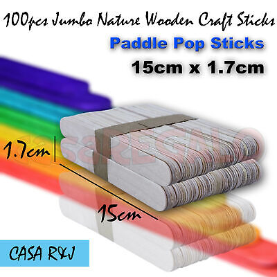 100pcs Jumbo Natural Wooden Craft Sticks Paddle Pop Sticks 15cm x 1.7cm