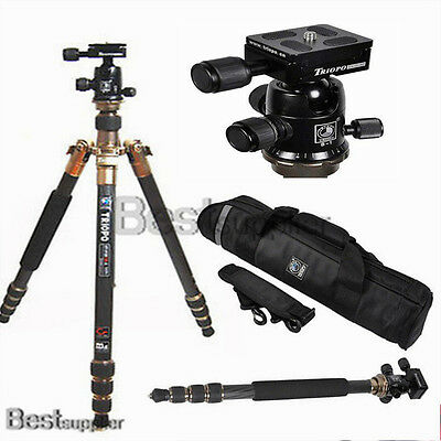 Heavy Duty Carbon Fiber With Ball Head Tripod DSLR Monopod Camera Professional