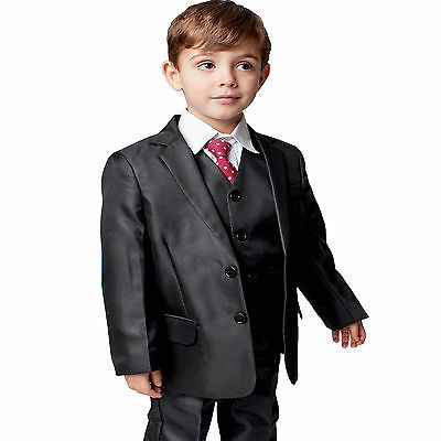 Boys Suits Boys Black Suit 5 Piece Wedding Party Formal Outfit (0-3M - 14Yrs)
