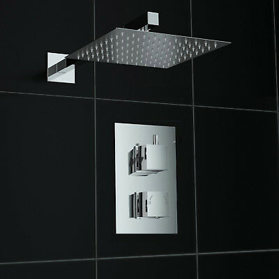 Square Chrome Finish Concealed Thermostatic Twin Mixer Shower Valve Set
