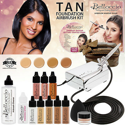 Belloccio AIRBRUSH Tan FOUNDATION MAKEUP SYSTEM Compressor Blush Bronzer Kit Set