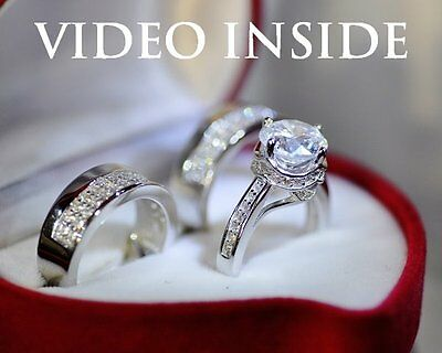 5.Ct Solid Silver 18k White Gold Finish Lab Diamond Engagement Wedding Ring Set