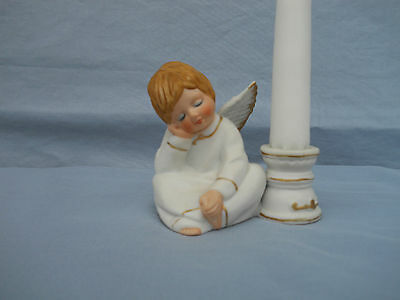 "Vtg Enesco 3""sleeping Boy Angel Candle Holder  Christmas Decor For 6"" Candle"