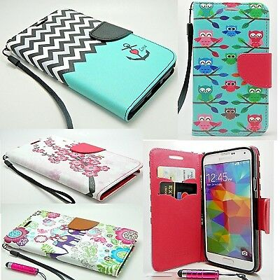 Flip Card Holder Stand PU Leather Wallet Phone Case Cover For iPhone & Samsung