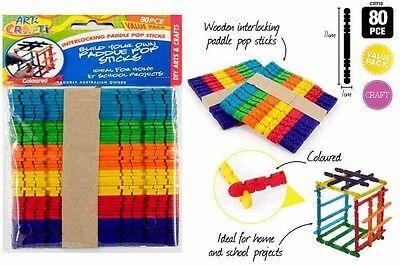 80 pc Coloured Wooden Craft Sticks Jointed Paddle Pop Sticks 11.5cm x 1cm