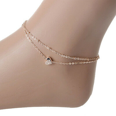 Hot Girl Love&Rose Letter Hearts Anklet Bracelet Rose Gold Color Foot Jewelry