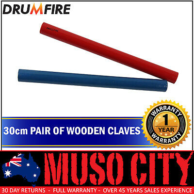 "New Drumfire 12"" Wood Claves (Blue/Red)"