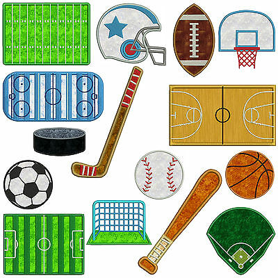 * SPORTS 1 * Machine Applique Embroidery Patterns * 15 Designs, 2 sizes