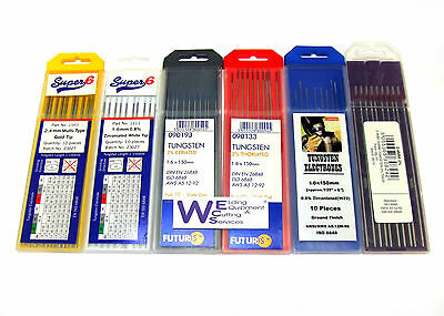 Super 6 1.6mm Tig tungstens packs of 10 All types ** Multi buy deals **