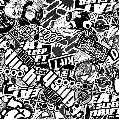 1m of Black & White Stickerbomb (SB2) 100cm Hydro Monkeys hydrographics film