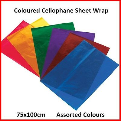 New Quality Coloured Cellophane Sheets Gift Wrap 75x100cm Assorted Colours