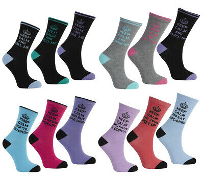 METZUYAN Ladies Womens Cotton Rich Novelty Socks Multi Pack Keep Calm Printed
