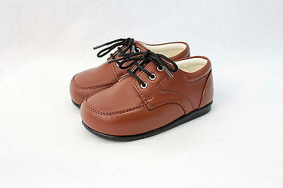 Baby Boys Brown Matte Shoes Formal Smart Lace Up Wedding High Quality 1 - 10