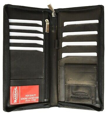 New Black Solid Leather Wallet Passport Cover ID Holder Card Travel Case Marshal