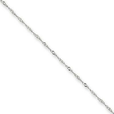 Genuine 1 mm Singapore Chain in 14k White Gold - Necklace 14 to 30 Inch