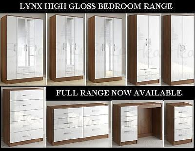 Birlea Lynx Walnut and White Gloss Bedroom Furniture Wardrobe Chest..Large Sizes