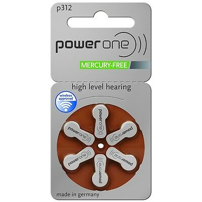 Power One Mercury Free Hearing Aid Batteries Size 312