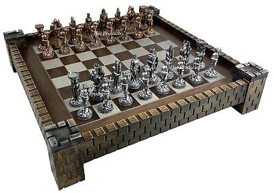 Medieval Times Knight PEWTER METAL CHESS Set Antique Finish W CASTLE BOARD 17""