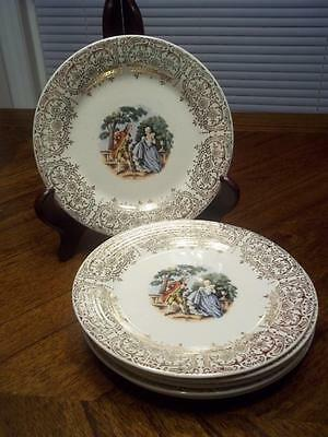 "1940's Sebring Pottery Chantilly 6 Plates 6.5"" Gold Filigree People in Center"
