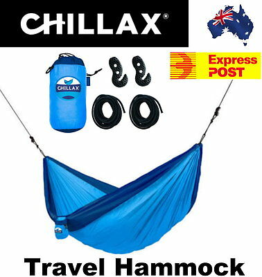 Chillax Blue Parachute Double Travel Hammock with Integrated Suspension