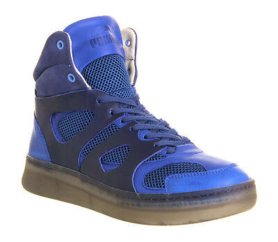 7ec9433f0ccc92 ALEXANDER McQUEEN PUMA MCQ MOVE MID BLUE LEATHER SNEAKERS MADE IN ITALY SIZE  12
